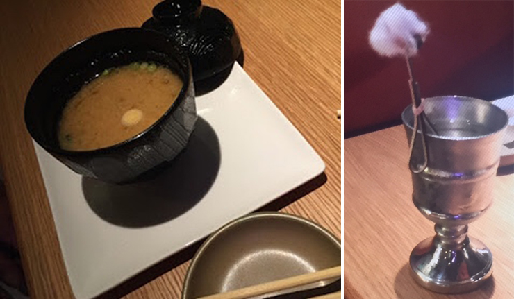 Photo: LEFT: Miso soup, RIGHT: Holy Water. Photo credit: Paul Petrella.
