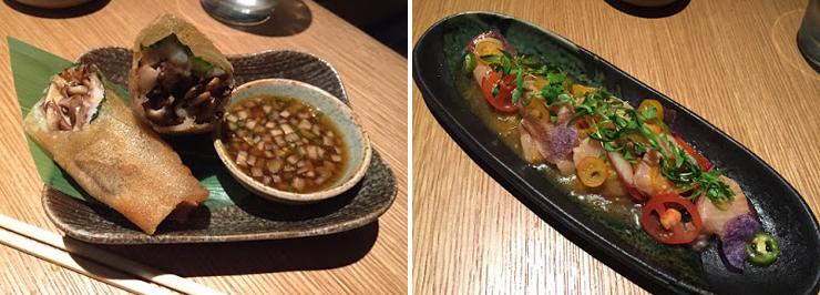 Photo: LEFT: Ebi harumaki, RIGHT: Nikkei sashimi. Photo credit: Paul Petrella.
