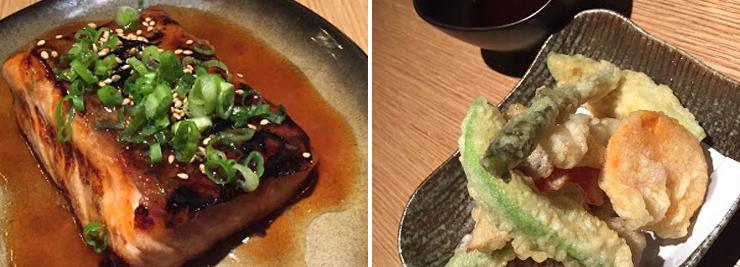 Photo: LEFT: Salmon Nipon, RIGHT: Vegetables Japoneses. Photo credit: Paul Petrella.