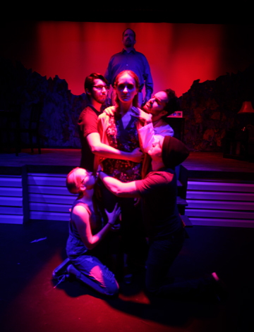 Skillful lighting by Sierra Shreves helps create a variety of effects. Christopher Alvarez, Sabrina Lynn Gore and Johnbarry Green appear in this scene, Photo Credit: Fernando Barron II.