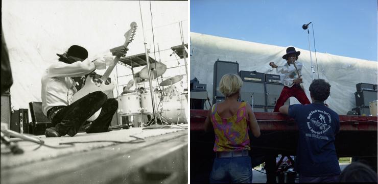 Photo: LEFT: Jimi Hendrix, RIGHT: Jimi Hendrix, Photo Credit: Ken Davidoff.