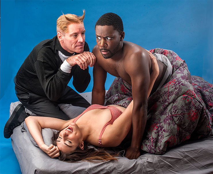 Tom Wahl, Diana Garle and Marquise Rogers in 'Ailurophobia,' part of City Theatre's Summer Shorts Festival. Credit: George Schiavone
