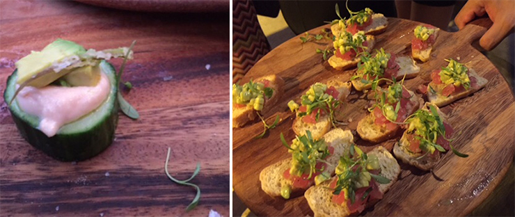 LEFT: Cucumber boat with salmon paste, avocado and fennel. RIGHT: Crostini with tuna tartare and micro greens.