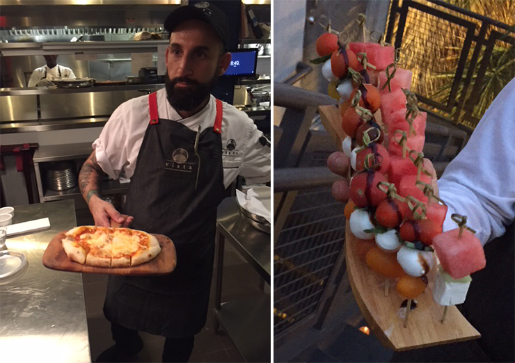 LEFT: Chef presenting cheese pizza. RIGHT: Skewers with watermelon, cucumber, and feta; skewers with heirloom tomatoes and mozzarella.
