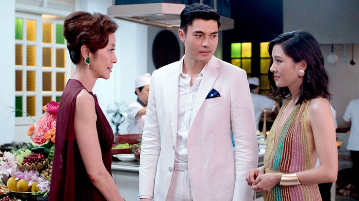 Michelle Yeoh, Henry Golding, Constance Wu.