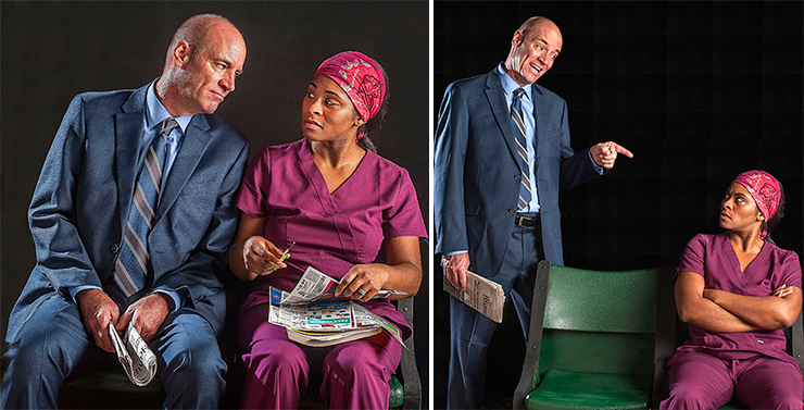 """Tom Wahl is a financial consultant, Rita Joe an aspiring nurse in Bruce Graham's """"White Guy on the Bus"""" at GableStage. Photos by George Schiavone."""