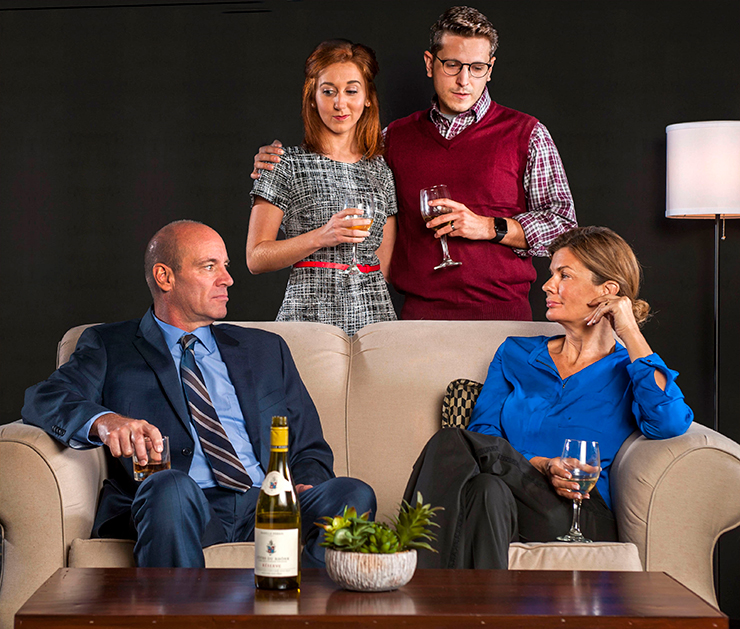 """Tom Wahl, Whitney Grace, Ryan Didato and Mia Matthews live privileged lives in Bruce Graham's """"White Guy on the Bus"""" at GableStage. Photo by George Schiavone."""