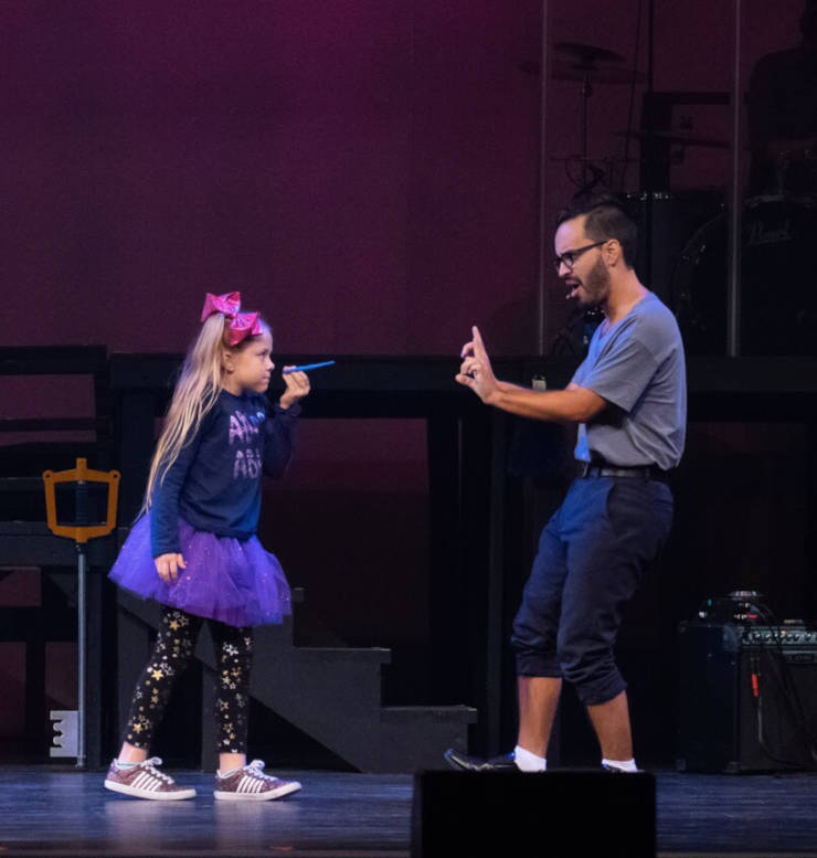 Allyson Nicole Ryan is a terror of a little girl to Ernest Gonzalez' flustered father in Measure for Measure Theatre Company's production of