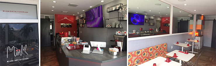LEFT: Restaurant exterior reflecting Gibb Park.<br> CENTER: Interior Counter.<br> RIGHT: Interior Seating.