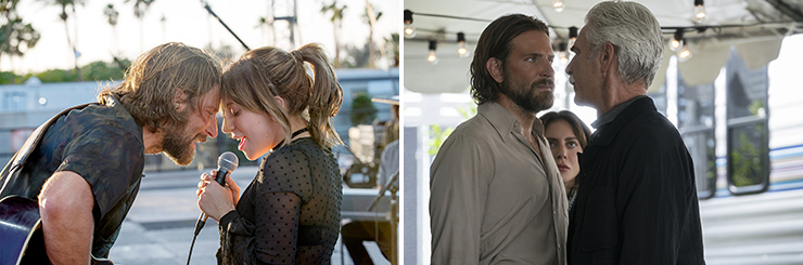 LEFT: Bradley Cooper, Lady Gaga. RIGHT: Bradley Cooper, Lady Gaga, Sam Elliott.