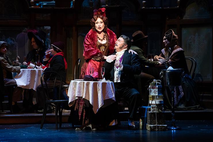 Jessica E. Jones as Musetta with Tony Dillon as Alcindoro. Photographer: Chris Kakol