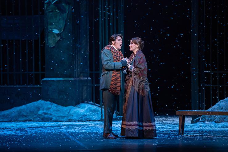Making his FGO and U.S. debut, tenor Alesandro Scotto di Luzio as Rodolfo with Adrienn Miksch as Mimi in Florida Grand Opera's