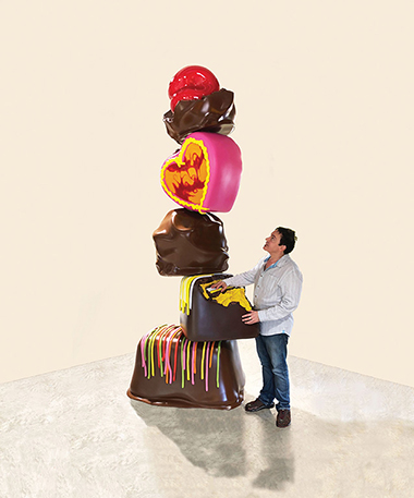 Galerie von Braunbehrens, Peter Anton (Art Miami)<br>Choco Tower with artist<br>Courtesy of Art Miami