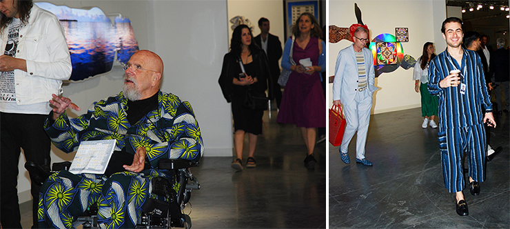 LEFT: Artist Chuck Close at  Art Basel. RIGHT: Pajama fashion,  Art Basel gallerist from A Gentil Carioca. <br>Photos by Irene Sperber.