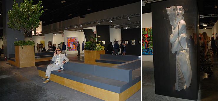 LEFT: Art Basel, Convention Center. RIGHT: Anton Kern Gallery, Art Basel.<br>Photos by Irene Sperber.
