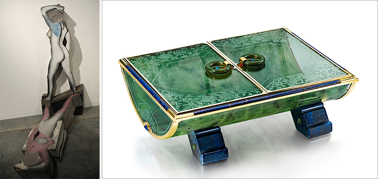 LEFT: Artist Larry Rivers showing at Art Basel gallery Tibor de Nagy. RIGHT: Cartier Table box 1928 courtesy of Siegelson<br>Photos by Irene Sperber.