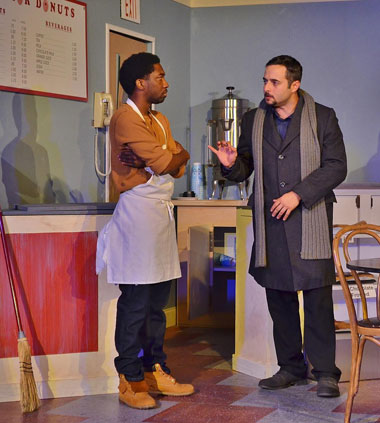 Franco Wicks (Roderick Randle) and Luther Flynn (Daniel Nieves) appear in a tense scene. Photos by Dennis Lyzniak.