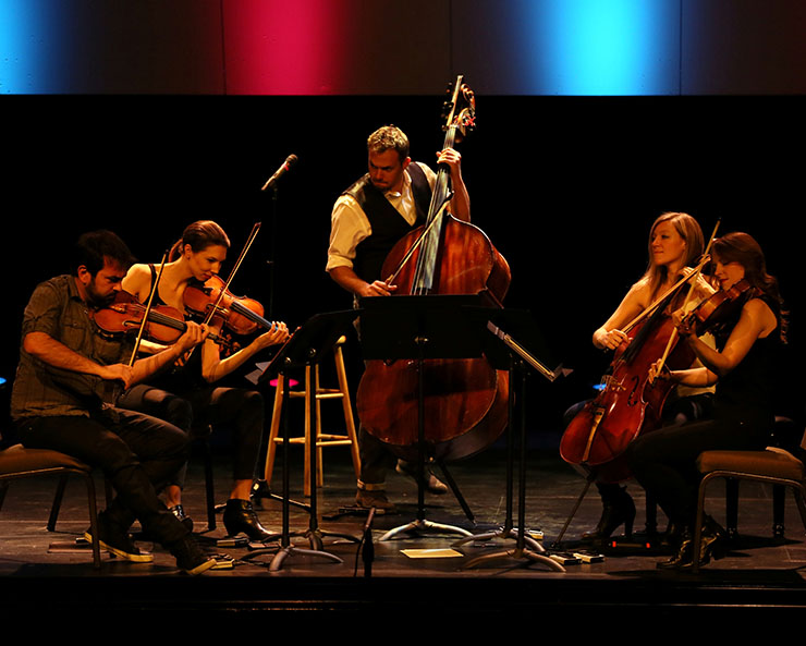 From left, Sami Merdinian (violin), Sarah Whitney (violin), Louis Levitt (bass), Laura Metcalf (cello) and Angela Pickett (viola) of Sybarite5 in concert. Photo by Bob Hunter
