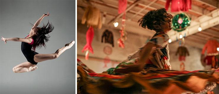 Left, Ajkun Ballet Theatre; right, Brigid Baker WholeProject