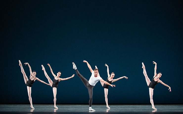 Miami City Ballet dancers in The Four Temperaments. Choreography by George Balanchine. The George Balanchine Trust. Photo by Alexander Iziliaev.