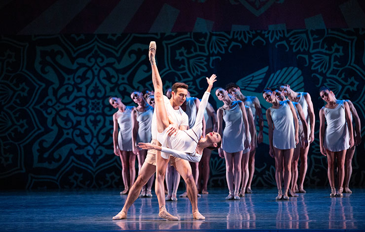 Nathalia Arja and Renato Penteado with Miami City Ballet dancers in Heatscape. Choreography by Justin Peck. Photo by Alexander Iziliaev.
