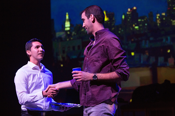Luke (Charlie Alguera) and Adam (Stephen Kaiser) first meet at a social gathering in Geoffrey Nauffts' bittersweet play,
