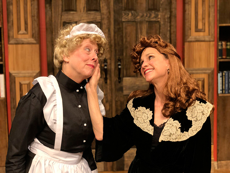 """From left to right: JCAT actresses Debbie Bekefi (Helsa) and Linda Drozdow (Elsa) in """"The Musical Comedy Murders Of 1940."""""""