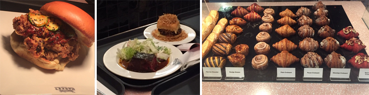 LEFT: Jeremy Ford's spicy fried chicken sandwich with cucumber kimchi and lemon aioli. CENTER: Lena's pastrami short rib and frita classic. RIGHT: Anthony Bachour's pastries.
