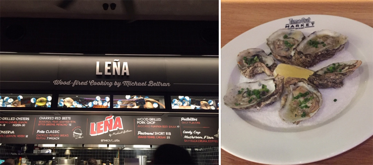 LEFT: Leña by Michael Beltran. RIGHT: Wood grilled oysters.