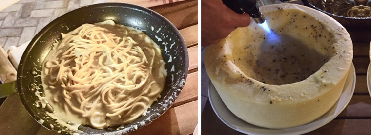 LEFT: Cacio e Pepe presented tableside in saucepan. RIGHT: Torched cheese wheel.