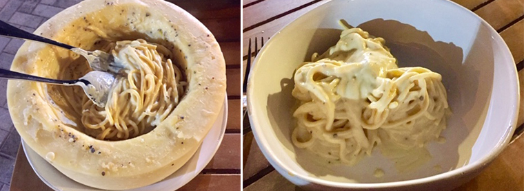 LEFT: Cacio e Pepe finished in cheese wheel. RIGHT: Cacio e Pepe plated.