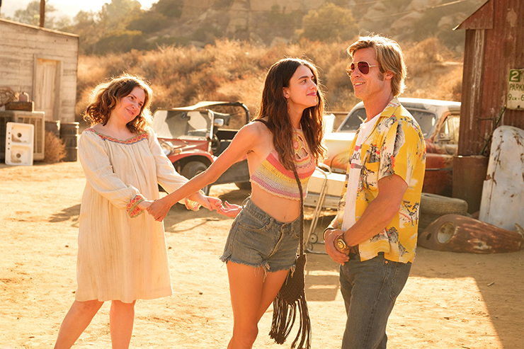 Lena Dunham, Margaret Qualley, Brad Pitt<br>Courtesy Sony Pictures