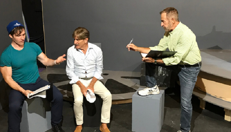 Playwright and director Michael Leeds, right, rehearses actors Clay Cartland and David Edwards for the world premiere of his new play,