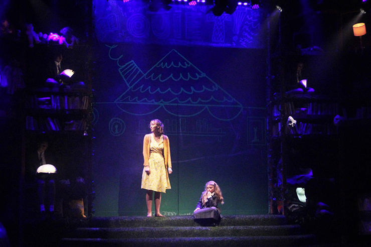Miss Honey (Katie Duerr) and Matilda (Alejandra Bess) are deep in thought in Area Stage Company's production of Matilda The Musical.<br>