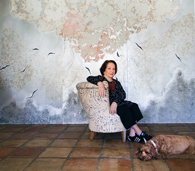 Mira Lehr in front of Creation (triptych), 2018.