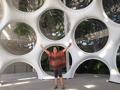 Mira in front of Buckminster Fuller's Fly Dome In front of PAMM Museum, 2014