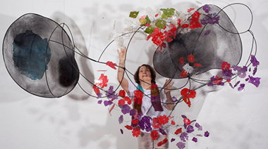 Mira Lehr with Coriolis sculpture, 2017.