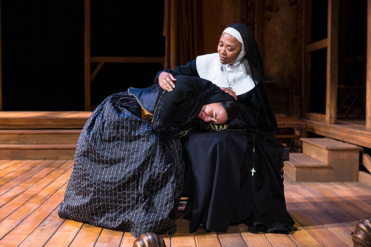 Karen Stephens as Madre Maria consoles Jeanette Dilone as Camila Perichole. Photo by Stian Roenning