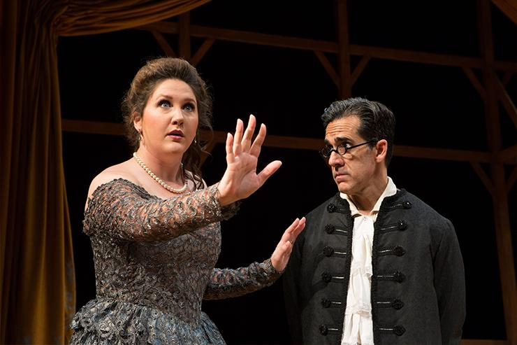 Lindsey Corey as Dona Clara with Carlos Orizondo. Photo by Andres Manner.