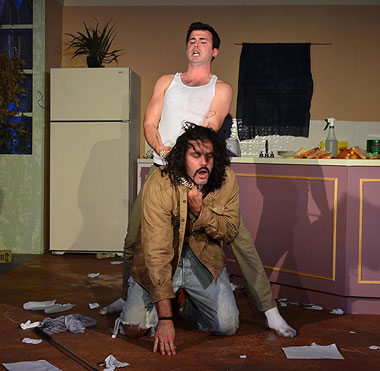 A crazed Austin (Tyler Grimes) chokes Lee (Christopher Millan) in Main Street Players' production of