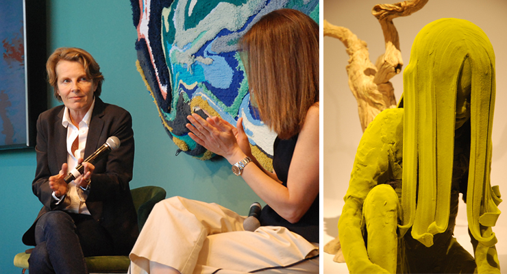 LEFT: Annabelle Selldorf, architect, Design Forum conversation, Design Miami. | RIGHT: Moss People by Kim Simmondson,  Jason Jacques Gallery, Design Miami (Flocking over ceramic).