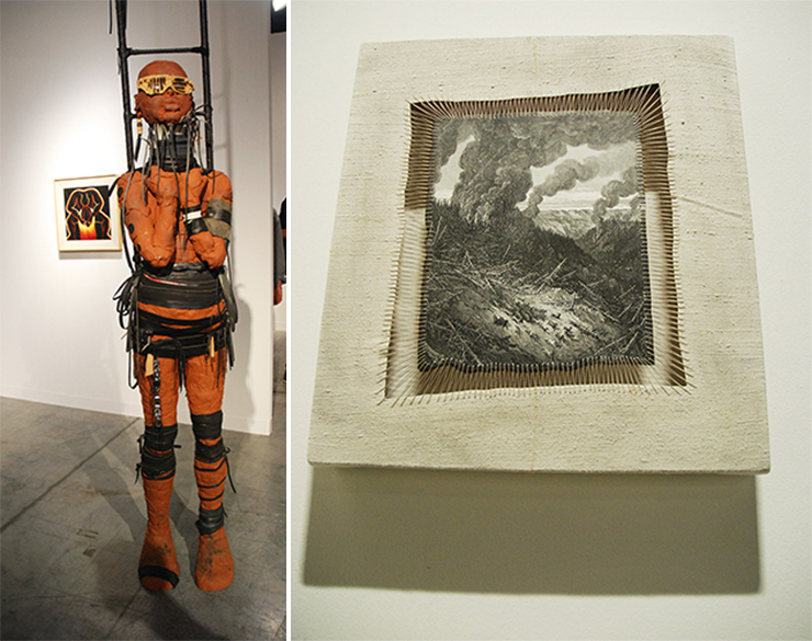 LEFT: Rose B. Simpson, Great Lengths, Jessica Silverman Gallery, Booth H 9. RIGHT: Sidival Fila, Amazonia, Jerome Poggi Gallery, (Nova).