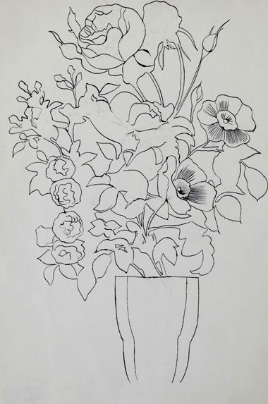 Andy Warhol, Flowers, circa 1956, ink on paper, courtesy Long-Sharp Gallery.