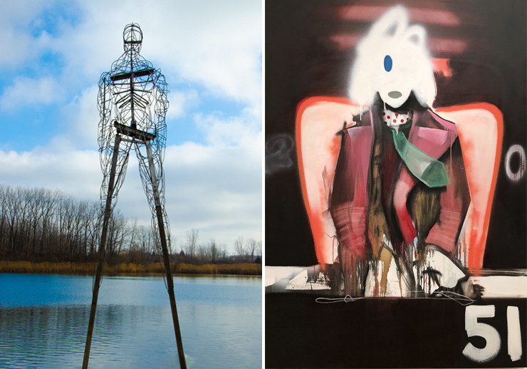 Left: Jason Myers, Gavin #8 (Perserverance), 2019, Long Sharp Gallery. Right: Marcus Jensen, Faceless51, 2020, Oil-Enamels, mix media on canvas, Burgess Modern and Contemporary.