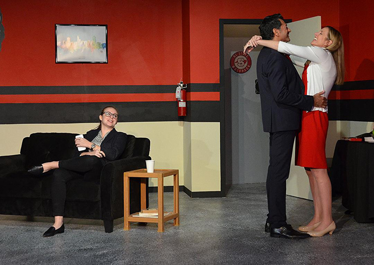 Melissa Bibliowicz, Christy Antonio and Anthony Linzalone in a scene from Main Street Players' production of