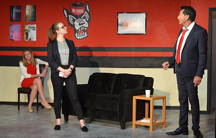 Christy Antonio, seated, Melissa Bibliowicz and Anthony Linzalone in a scene from Main Street Players' production of