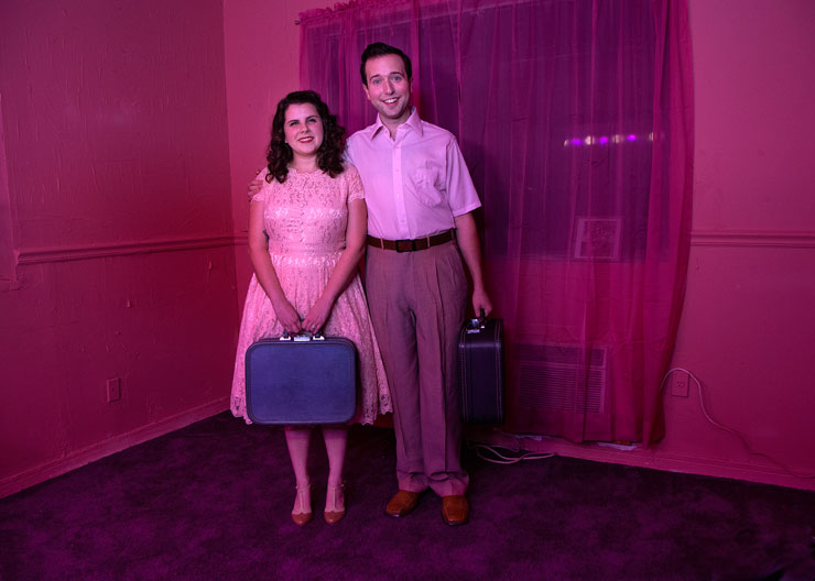 1956 Honeymooners <br/> Amy Coker as Marion Robert Fritz as Harold<br/>Photo Credit: Pedro Portal