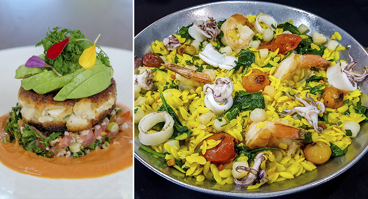 Jumbo Lump Crab Cake, left, and Seafood Orzo Paella, right (Photos: A Fish Called Avalon)