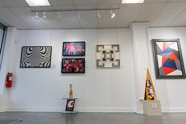 Works on display at Latin Art Core Gallery includes art by Jorge Formes and Sandu Darie
