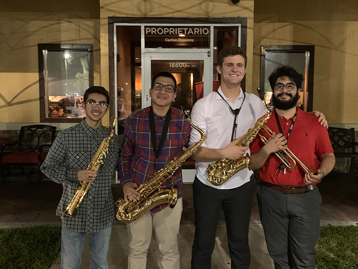 Gabriel Perez, second from left, was awarded a Silver Knight Award for helping his school's underfunded music programs by creating the Gladiator Jazz Combo. He is a student at Hialeah Gardens Senior High.